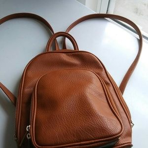 INC. Brown Faux Leather Backpack.